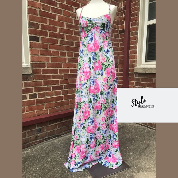 H&M Dresses & Skirts - Pink Multicolored Floral Full Length Maxi Dress
